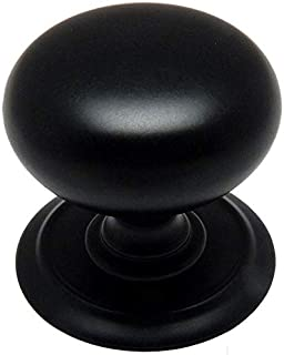 25 Pack - Cosmas 6542FB Flat Black Round Cabinet Hardware Knob with Backplate - 1-1/4