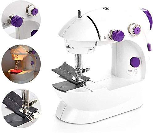 ATRNA beweegbare naaimachine, kleine naaimachine, multifunctionele elektrische naaimachine met led-lantaarn en twee snelheden, tweedraads schroevenkoppen, beweegbare naaimachine paars