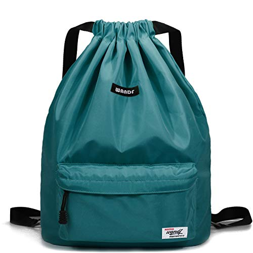 WANDF Drawstring Backpack String Bag Sackpack Cinch Water Resistant Nylon for Gym...