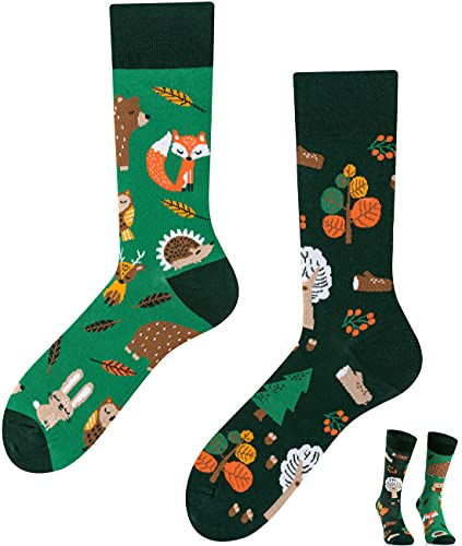TODO Colours Lustige Socken mit Motiv - Mehrfarbige, Bunte, Verrückte für die Lebensfreude (Forest Animals, numeric_39)