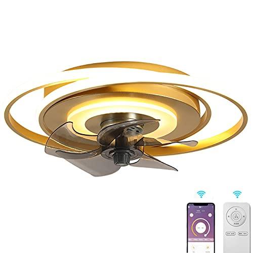 Ventilador De Techo Luz Regulable Moderna LED Ventilador De Techo Lámpara Invisible Con Luz Y APP Mando A Distancia Ventilador Luz 5 ABS Aspas Plafones Dormitorio Iluminación Sala Estar Ø48CM Dorado
