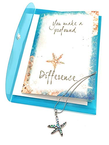 Smiling Wisdom - Abalone Starfish Story Necklace Gift Sets - You Make Profound Difference Greeting Card - Show Appreciation Thanks - Encourage Friend, Teacher, Volunteer, Caregiver, Coach, Her, Woman