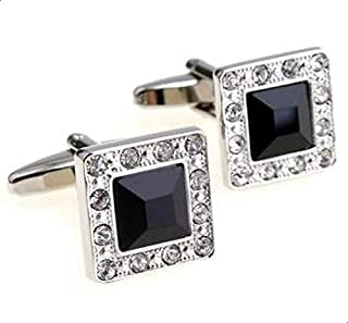 Fashion Black Crystal Silver Shirt Cufflinks Cuff Link Button Men Jewellry Accessories for Male c15