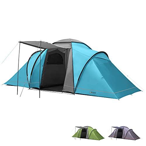 Portal Outdoor Spacious 2 Bedroom Tent with Storage Bag Beta 6 espaciosa Tienda de campaña para 2 dormitorios con Bolsa de Almacenamiento, Unisex, Azul, 6 Personas