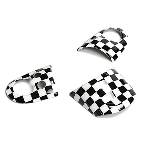 ABS Plastic Steering Wheel Sticker Cover Interior Trim Decal for Mini Cooper R55 Clubman R56 Hatchback R57 Covertible R58 Coupe R59 Roadster R60 Countryman R61 Paceman (Checkered)