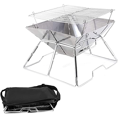 small firepit, Foldable Outdoor Camping Fire Pit, Portable Camping Grill Mini Grill for Heating/BBQ for Camping Campfire Cooking Hiking Traveling with Carrying Bag,B (Size : A)