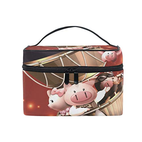 Travel Cosmetic Bag Hot Air Balloon Pig Toiletry Makeup Bag Pouch Tote Case Organizer Storage Tools Jewelry for Women Girls