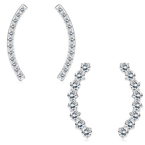 Sllaiss 2 Paar Bogen CZ Ohrstecker 925 Sterling Silber Für Damen Frauen Zirkonia Bar Ohrringe Set Hypoallergen Silber
