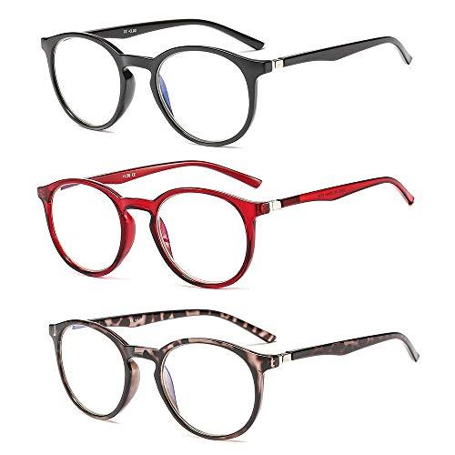 Suertree Anti Blau Lesebrille 3 Pack Computer Brille Herren Damen Anti Rays Lesebrillen UV-Blockierung Leser 3.0X JH250