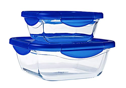 Pyrex Cook & Go Set of 2 Square Glass Storage Containers with Airtight and Waterproof Lids (0.8 L, 1.9 L) - BPA Free