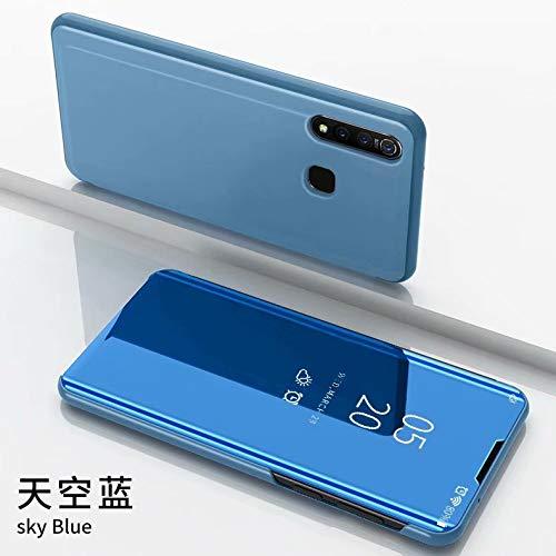 TiHen Funda Vivo Nex,Funda + Cristal Templado 2 Piezas Flip Clear View Translúcido Espejo Standing Cover Slim Fit Mirror 360°Protectora Cubierta para Vivo Nex Azul