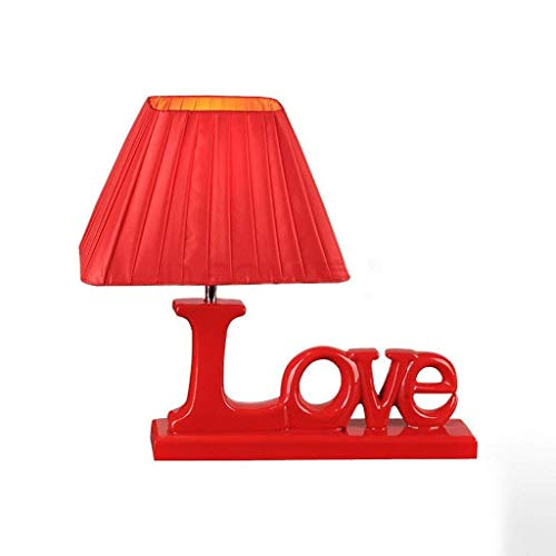 ZUQIEE lámpara de cabecera Lámparas de mesa, personalidad simple de la boda Lámparas de mesa, dormitorio de noche luces regulables Pequeño Color Rojo 5W color Ajuste del interruptor de temperatura ter