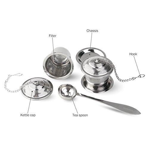 OUNONA Tee-ei Sieb Tee Rostfreier Stahl (2 Stück) mit Tee-Scoop und Auffangwannen - 5