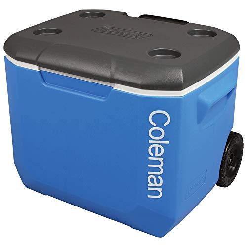 Coleman 60QT Tricolour Wheeled Camping Cooler Blue 56L