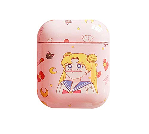 Cartoon Case for Apple Airpods 1 & 2 Charging Case, Cute Japan Anime Sailor Moon Hard Protective Case for Airpod Cover for Kids Teens Girls (with Pen)