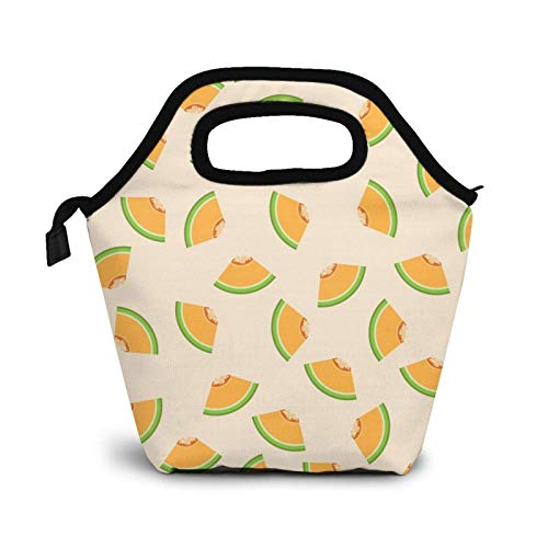 Reusable Lunch Bag,Cantaloupe Cut Into Triangles Lunch Bag Picnic Office Outdoor Thermal Carrying Gourmet Lunchbox Fresh Fruit Pattern Lunch Tote Container Tote Cooler Warm Pouch for Men,Women