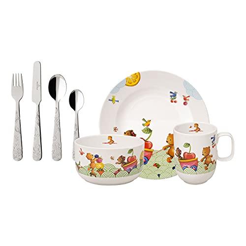 Villeroy & Boch - Cubertería para niños Hungry as a Bear, 7 piezas, porcelana Premium/acero inoxidable, blanco/multicolor