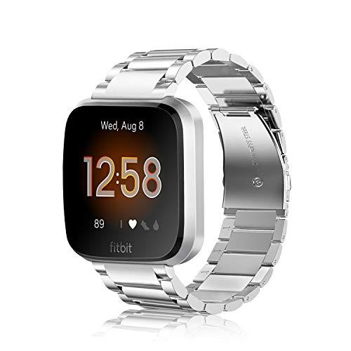 Fintie Armband kompatibel mit Fitbit Versa/Fitbit Versa 2 / Fitbit Versa Lite - 22mm Uhrenarmband Edelstahl Metall Ersatzband für Fitbit Versa Health & Fitness Smartwatch, Silber