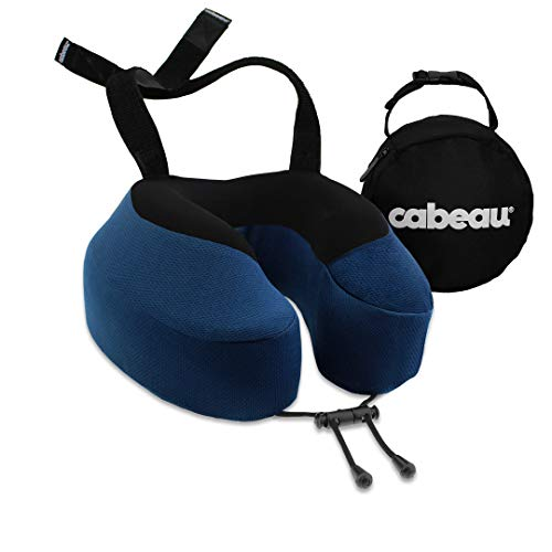 Cabeau Evolution S3 Neck Support Pillow - Neck Pillow for Traveling - Memory Foam Airplane Pillow - Neck Pillow with Attachment Straps - Support for Travel, Home, Office, and Gaming - (Indigo)