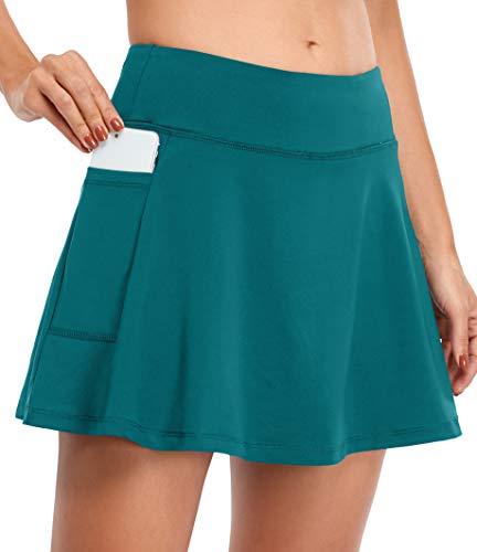 Fulbelle Golf Skirt, Womens Mini Skorts Skirts Summer Pencil Tennis Skort for Women Athletic Fitness Workout Moisture-Wicking Pleated Shorts Elastic Basic Wear Dark Cyan X-Large
