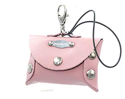 Pupakiotti Porta bolsas de correa de piel auténtica para perro, dispensador contenedor...