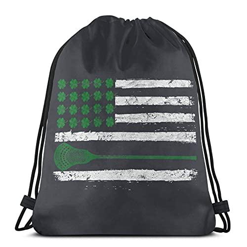 Lmtt Mochila con cordón Deportes Gimnasio Mochila Bolsa de viaje Bandera irlandesa de LaCrosse de EE. UU.