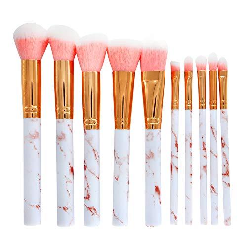 Jaysis Pinceau De Maquillage Professionnels Marbre Yeux Licornes Poudre Fond De Mousse Et Estompeur Fin Brosse Pour Les Fonds Teint Avec Sac Kit De Toilette En Laine Femme