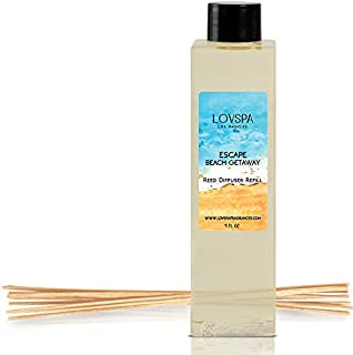 LOVSPA Escape Beach Getaway Reed Diffuser Oil Refill with Replacement Reed Sticks | Citrus Marine Fragrance – Ocean Scented Oil & Reeds | 4 oz| Made in The USA