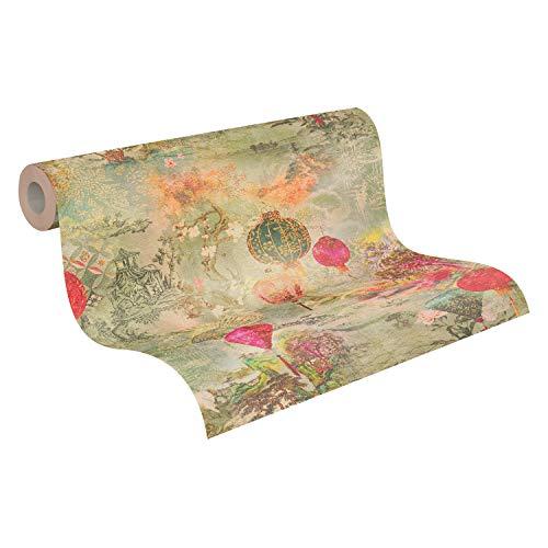 A.S. Création Vliestapete Asian Fusion Tapete mit japanischem Garten 10,05 m x 0,53 m grün gelb rot Made in Germany 374661 37466-1