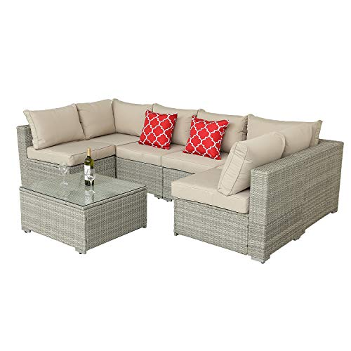 Furnimy 7 PCS Outdoor Patio Furniture Set Cushioned Sectional Conversation Sofa Set Rattan Wicker Gray with Tempered Glass Coffee Table and 2 Red Pillows (Light Gray)