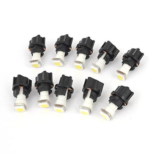 sourcing map Interne 10pcs Voiture T5 5050 SMD Ampoules LED PC74 Prise Panneau Lumineux Blanc