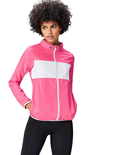 Activewear Sportjacke Damen versteckbare Kapuze Colour Blocking, Pink / Hellgrau, 38 (Herstellergröße: Medium)