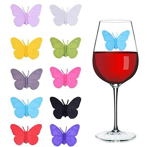 Ouceanwin 10pcs Glasmarker Silikon Glas Markierung Wiederverwendbare Schmetterlings Weinglasmarkierer Glasmarkierer Weinglas Marker mit Saugnapf für Bar Party Tischdekorationen, 10 Farben