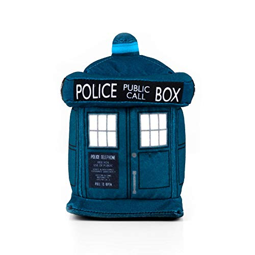 """Doctor Who 4.5"""" Plush TARDIS & 13th Doctor Enamel Collector Pin - Cute Stuffed Toy & Limited Edition Durable Metal Badge With Colorful Inlay - Great Memorabilia For Whovian!"""
