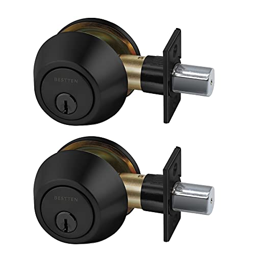 [2 Pack] BESTTEN Single Cylinder Deadbolt, Keyed Alike Dead Bolt Door Lock with Removable Latch Plate, for Commercial and Residential Use, Matte Black Finish