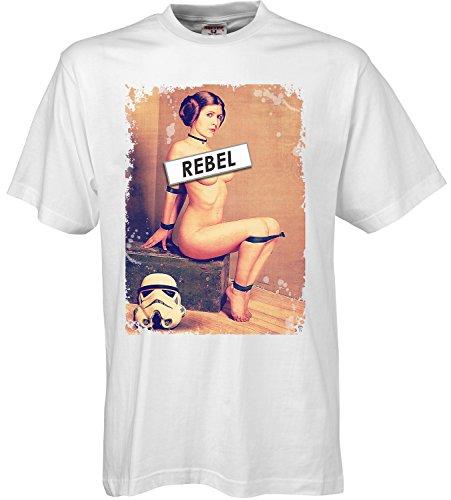 adrotes Herren T-Shirt Rebel Leia ADSW10008 (M, White)