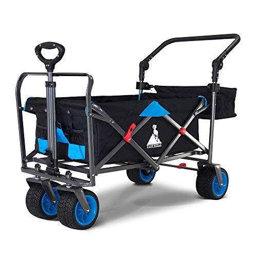 TOPWELL All-Terrain Faltbar Klappwagen mit Dach, Patentiert 360° Räder Gartenwagen, Breite AutoReifen Bollerwagen, Transportwagen mit Überdachung und Doppelbremse 100L, 150KG (2140WRB Black/21#Blue)