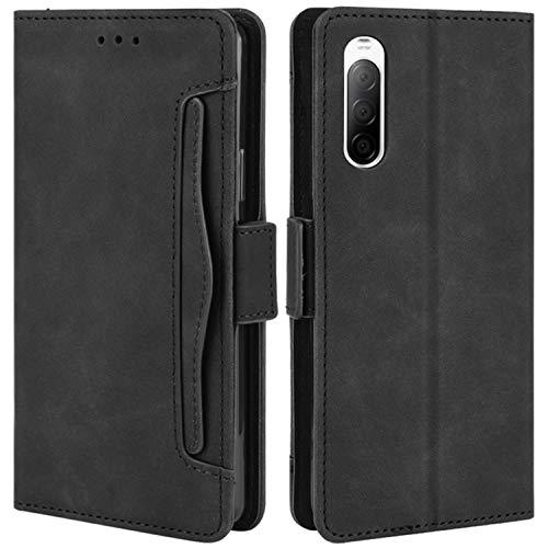 HualuBro Handyhülle für Sony Xperia 10 II Hülle Leder, Flip Hülle Cover Stoßfest Klapphülle Handytasche Schutzhülle für Sony Xperia 10 II 2020 Tasche (Schwarz)