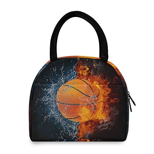 PUXUQU Anantyy - Bolsa térmica para almuerzo y balón de baloncesto con fuego y agua, con llama, bolsa isotérmica para almuerzo y almuerzo para niños