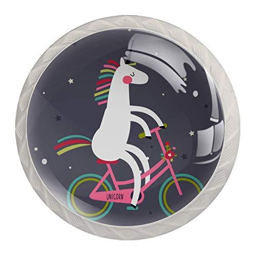 Juego de 4 tiradores de cajón y pomos para cajones con tornillos de cristal para cajón, gabinete, tirador de armario, accesorios para montar a caballo y montar a caballo en bicicleta de 35 mm