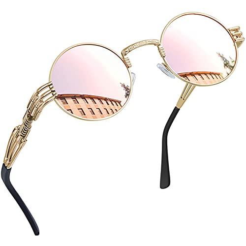 Joopin Redondas Gafas de sol Polarizadas Retro Vintage John Lennon Círculo Metálico Hippie Steampunk para Hombres y Mujeres UV400 (punk rosa)