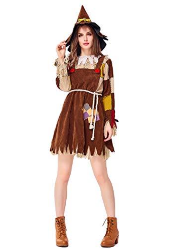LvRao Partykleider für Damen Mädchen Vogelscheuche Kostüme für Eltern-Kind Halloween Party Cosplay - Khaki (Erwachsene), CN L