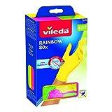 Vileda Rainbow - Guantes multiusos de nitrilo, multicolor, 80 unidades, talla M/L