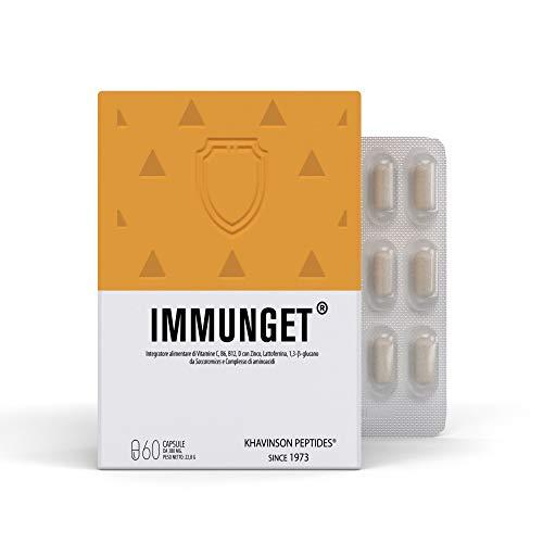Immunget es un Complemento Alimenticio Peptídico con Vitaminas C, B6, B12, D, zinc y sirve de apoyo al Sistema inmunológico – 60 Cápsulas