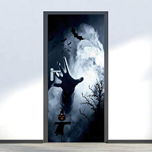 IKPHQF 3D Door Stickers For Interior Doors Halloween Pumpkin Head Bat 77X200CM Waterproof Door Stickers, Vinyl Door Decals Door Murals Removable Posters Wallpaper For Bedroom Bathroom House Decoration