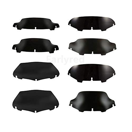 4.5' 5' 6'' 7' 8'' 9' Motorcycle Wave Windshield Windscreen Fit For Harley Electra Street Glide Touring Bike (Black) (7')