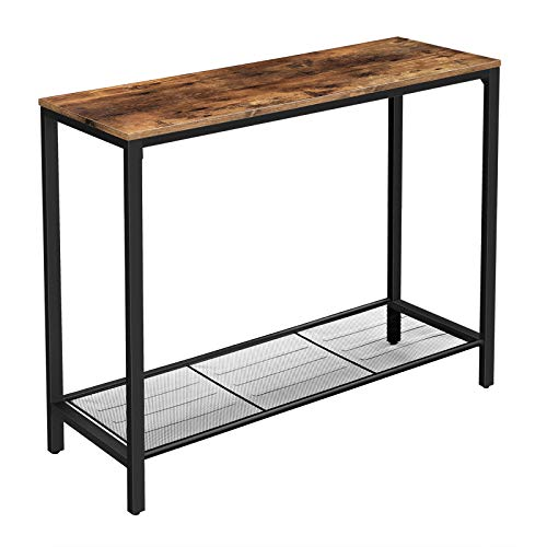 VASAGLE Industrial Sofa Console Table,Entryway Table with Storage Shelf for Living Room,Hallway,Entrance Hall,Corridor,39.4 x 13.8 x 31.5 Inches,Rustic Brown ULNT86X