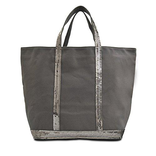 Vanessa Bruno Damen Cabas Medium + -Coton et Paillettes Tote, Grau (Anthracite), 18x33.5x49 centimeters
