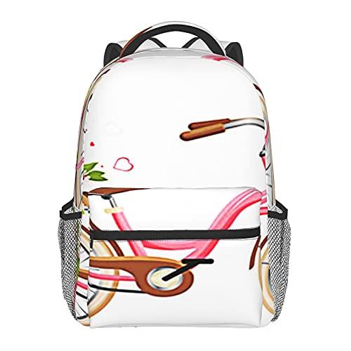 BYETWIK Mochilas Escolares Niños Niñas, Mochilas Hombre Mujer, Casual Deporte Playa Viaje Compras Bolsa Escolar, Mochilas Escolares Carro de bicicleta rosa lleno