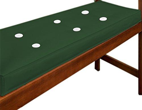 Detex Cojín para Banco 110x45x7cm cómodo Almohadilla viscolastica de Poliéster con Correas Color Verde